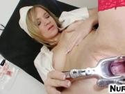 Hot blonde Angel Piaff pussy cervix speculum close-ups