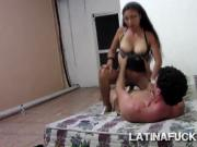 Stunning South America slut mounts perv