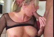 Blonde anal in fishnet nylons