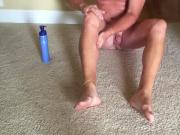 Applying lotion to my smooth legs and cock. With cumshot