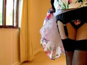 1950's Flower Dress And Black Underwear