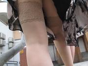 Stockings upskirt on a windy day