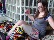 Amputee girl makes leg out of lego non nude