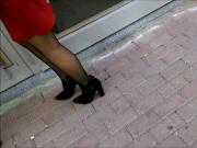 Red Skirt and Black Pantyhose