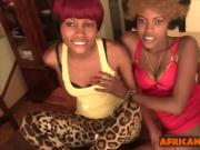 Two black amateur hotties share white cock in threesome