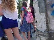 blonde hot girl with blue miniskirt