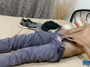 Gay youngster jerking off after oriental foot worship