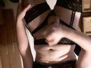 Sissy crossdresser cumming in lingerie