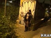 Submissive Girl obedient in public, outdoor BDSM