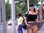 No panty public flashing and upskirt