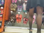 Hot milf shopper in sheer black pantyhose
