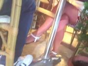Filming fr's sexy legs feets toes, under table
