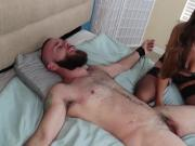 Hot brunette tickle handjob