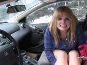 Cheerful squirting wet teen on a Canadian winter day
