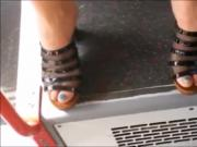 Candid High Heel Mules In Bus