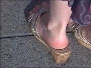 Candid Mature Pink Soles In Well Worn Wedges