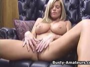 Busty amateur Tera playing her pussy with toy on the couch