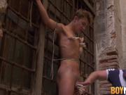 Helpless twink begging the cock master for mercy