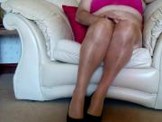 Cum in natural glossy tights