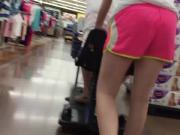 DW Blonde teen in pink shorts pushing mom