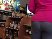 Big Booty MILF VPL in Grey Leggings