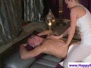Sensual massage babe cockrides her client