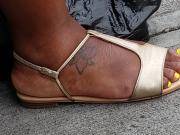 Candid ebony feet yellow toes
