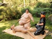 Plumperd.com Femdom BBWs treat their slave rough