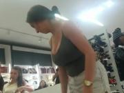 Busty babe at shoe store.mp4