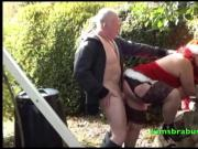 Mrs Santa behind the woodshed