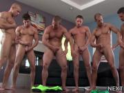 Hunk orgy with muscular dudes and stiff unprotected cocks