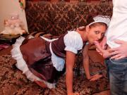 LA COCHONNE - French teen maid loves sucking big white cock