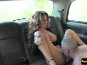 Female taxi driver doggystyled by passenger