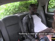 Tattooed cabbie babe sucks black passenger