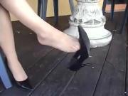 Nice lady dangling sexy heels