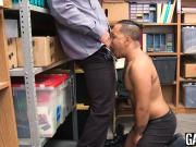 White daddy pounds the hole of tight cute Latino shoplifter