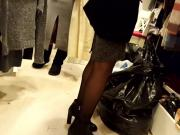 Gf's black pantyhosed legs, high boots, shopping