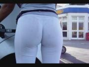 INCREDIBLE Bubble Butt in White Leggins at Gas Station