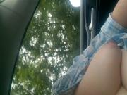 my wife tit out in car