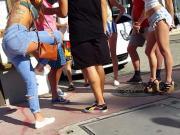 Candid voyeur hot in cut off shorts wedge heels blonde
