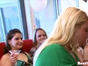 Blonde slut cocksucks stripper at party