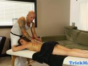 Massage babe sucks masseur before facial