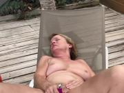 MILF Outdoor Vibrator Masturbation w Steel Butt Plug