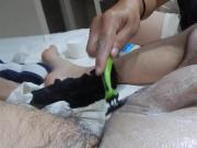 Shaving,massage HJ & cumshot rasurada ll