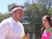Teens suck their tennis teacher