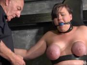 Tied slave Taylor Hearts breast bondage and elastic punish