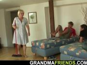 Verty old blonde granny takes two cocks