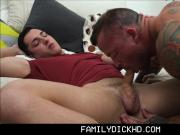 Young Stepson Has Sex With Hunk Stepdad In His Bed