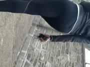 Slim African Gitl Walking in Tights candid