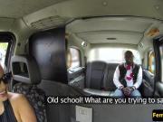 Busty british cabbie cockriding black guy